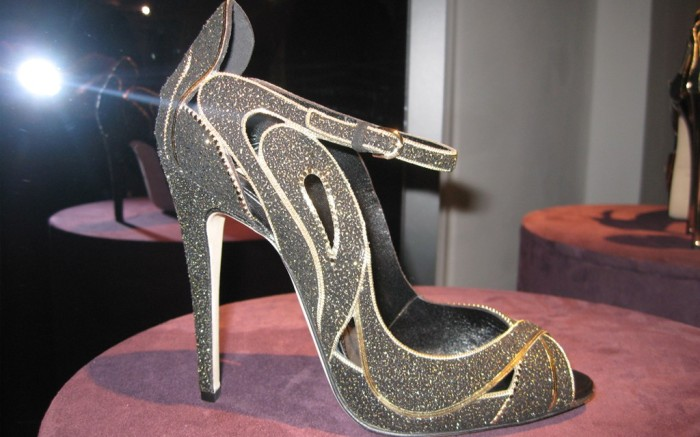 Brian Atwood black and gold fall style