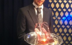 Waiter at Rene Caovilla presentation
