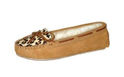 Moccasin with leopard vamp from Minnetonka