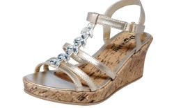 Cork wedge with teardrop-shaped jewels by DYNASTY