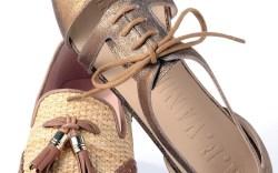 STUART WEITZMAN&#8217s tassled loafer and  AF VANDEVORST&#8217s  coppery cut-out flat  set the stage