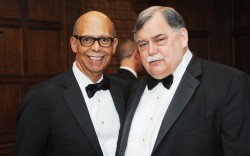 President and CEO of UNCF Dr Michael Lomax with Foot Locker Inc CEO Ken Hicks