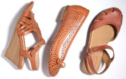 From left Sofft wedge Taryn Rose ballet flat and Kork-Ease ankle-strap look
