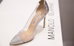 An exclusive Manolo Blahnik Pachacry pump with Swarovski crystal