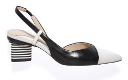 CAROLINNA ESPINOSAs leather slingback with a triangular striped heel Thomas Iannaccone