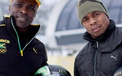 Jamaican bobsled team Winston Watts left and Marvin Dixon
