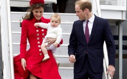Prince William and the Duchess of Cambridge in Catherine Walker with Prince George at the Wellington International Airport in New Zealand