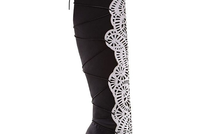 Alexandre Birmans laser-cut python and stretch leather boot for fall 14