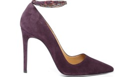 Rene Caovilla&#8217s amethyst suede pumps with Swarkoski crystal ankle strap