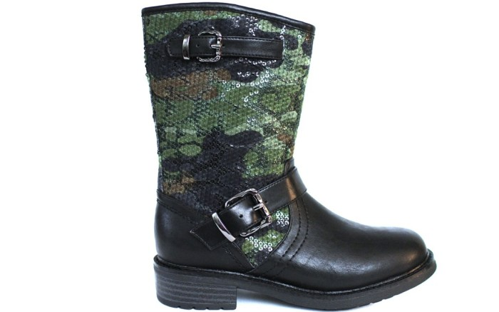 FLOWERS BY ZOEs moto-inspired boot with sequined shaft