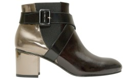 two-tone bootie with block heel