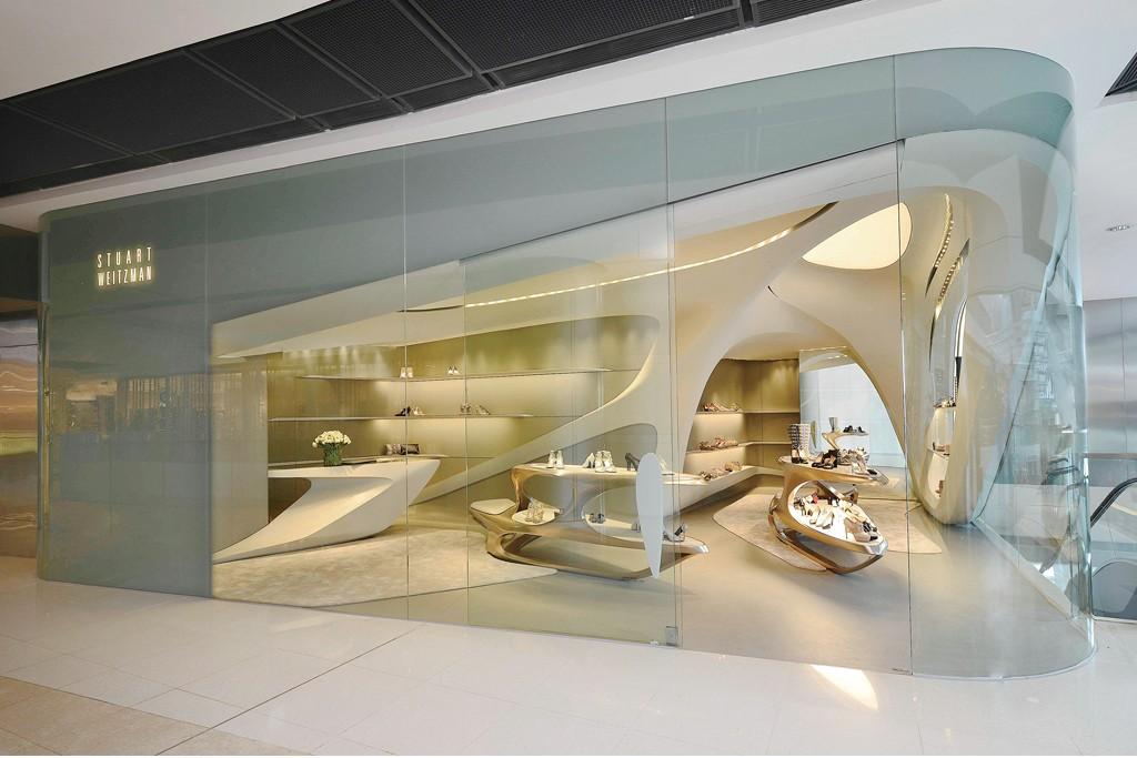 Stuart Weitzman's Hong Kong flagship, designed by Zaha Hadid