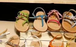 Examples of finished women&#8217s and children&#8217s sandals to inspire customer&#8217s own creations