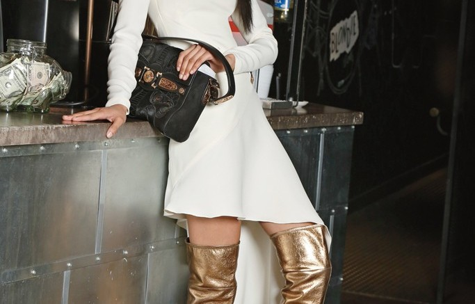 Charlotte Olympia&#8217s Andie gold-leather over-the-knee version is pure pick-me-up Dress and bag by Versace