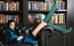 Victor Alfaro&#8217s bottle-green matte patent leather-and-suede boots Dress by Agnona coat and bag by Versace