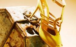 Abel Mu&#241oz Lime suede T-strap peep-toe pump spring 15
