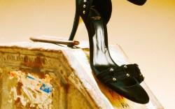Abel Mu&#241oz Black suede silver grommet ankle-strap sandal spring 15