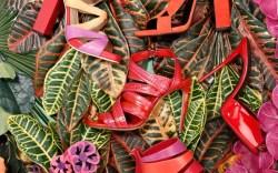 PIERRE HARDY&#8217s coral sandal GIUSEPPE ZANOTTI&#8217s red patent mule CASADEI&#8217s tricolor cut-out heel SEBASTIAN&#8217s floral stiletto DANIELE MICHETTI&#8217s red-and-purple strappy heel CHARLINE DE LUCA&#8217s crisscross heel