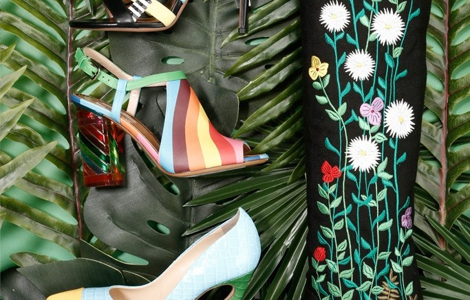 LAURENCE DACADE&#8217s botany-embroidered boot followed by from top AQUAZZURA&#8217s strappy striped stiletto VALENTINO&#8217s rainbow heel and JEROME C ROUSSEAU&#8217s Flicker pump