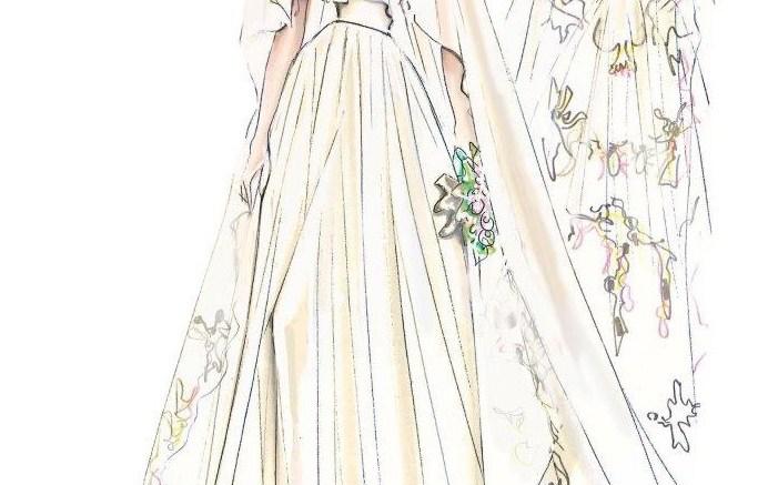 A sketch of Angelina Jolies wedding dress designed by Atelier Versace