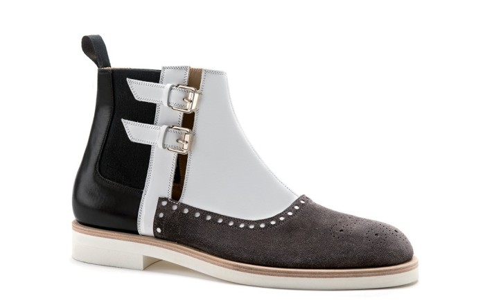 Sergio Rossis Chelsea boot with brogue-style toe cap spring&#821615