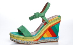 Valentinos multicolor wedge with roped embroidery resort 15