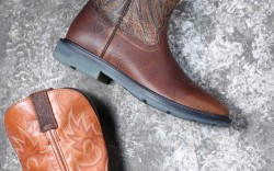 From top ARIAT&#8217s square-toe western style with Advanced Torque Stability technology with gel footbed JUSTIN ORIGINAL WOORKBOOTS&#8217 pull-on style with Ortholite footbed