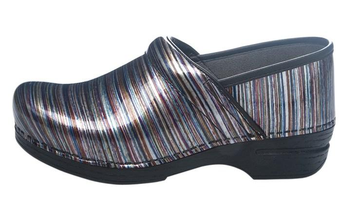 DANSKO&#8217s multicolor striped clog in shiny patent