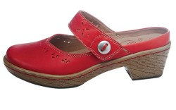 Backless shoe in cherry red from KLOGS