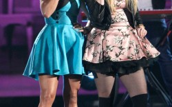 Miranda Lambert wears Palter DeLiso's Fiance platforms as she performs at the CMAs
