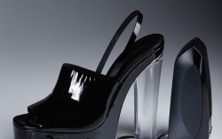 Calvin Klein Collection patent and lucite platform.