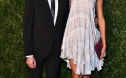 Winner Paul Andrew with model Joan Smalls in his wrap-tie suede heels