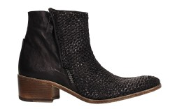Woven leather heeled boot by Bruno Bordese.