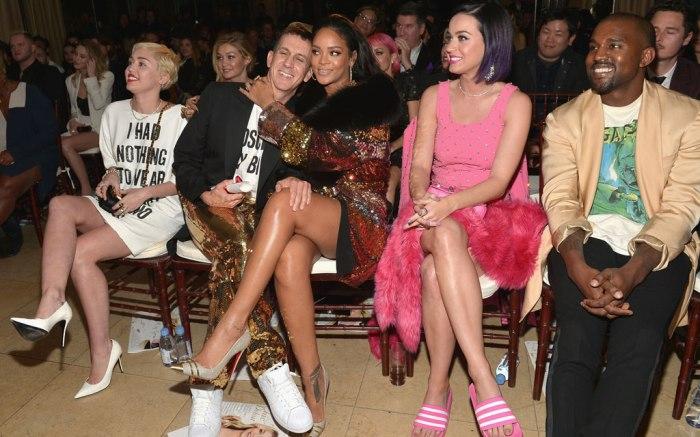 Miley Cyrus, Jeremy Scott, Rihanna, Katy Perry, and Kanye West