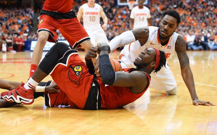 Montrezl Harrell in a Louisville-inspired pair of Adidas Crazy 8.
