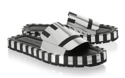Acne Wilma stripped metallic leather sandals