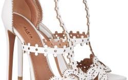Alaia white laser-cut sandals