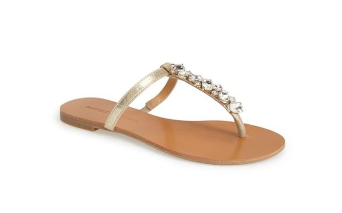 Badgley Mischka Maycee embellished thong sandals.