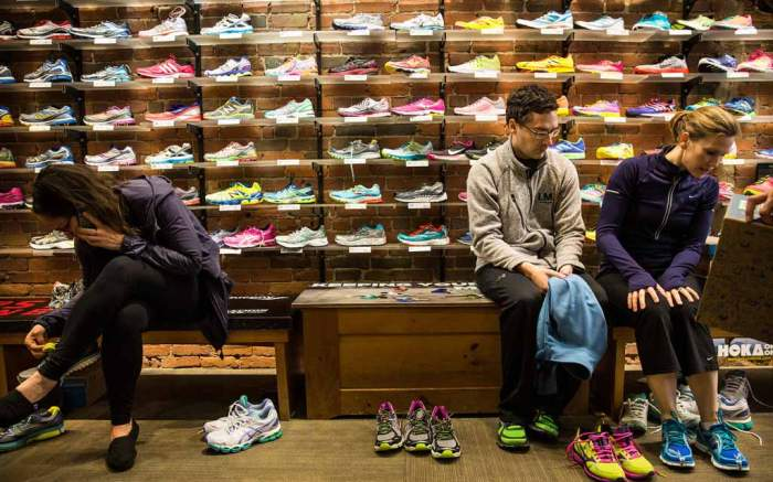 Finding the perfect running shoe.
