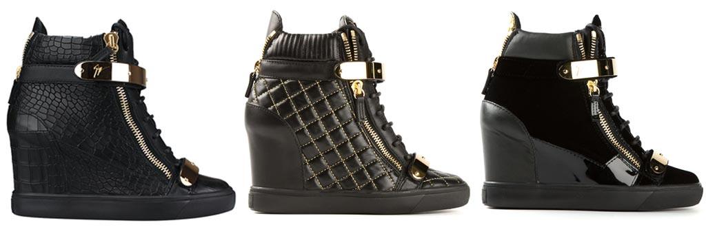 Giuseppe Zanotti black high-top wedge sneakers