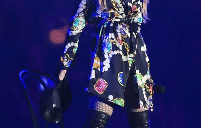 Madonna performs at Coachella 2015 in Givenchy boots.