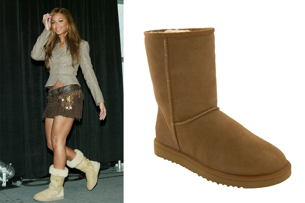 Beyonce is one of the many celebs seen wearing Uggs. On the right: Uggs' classic boot.