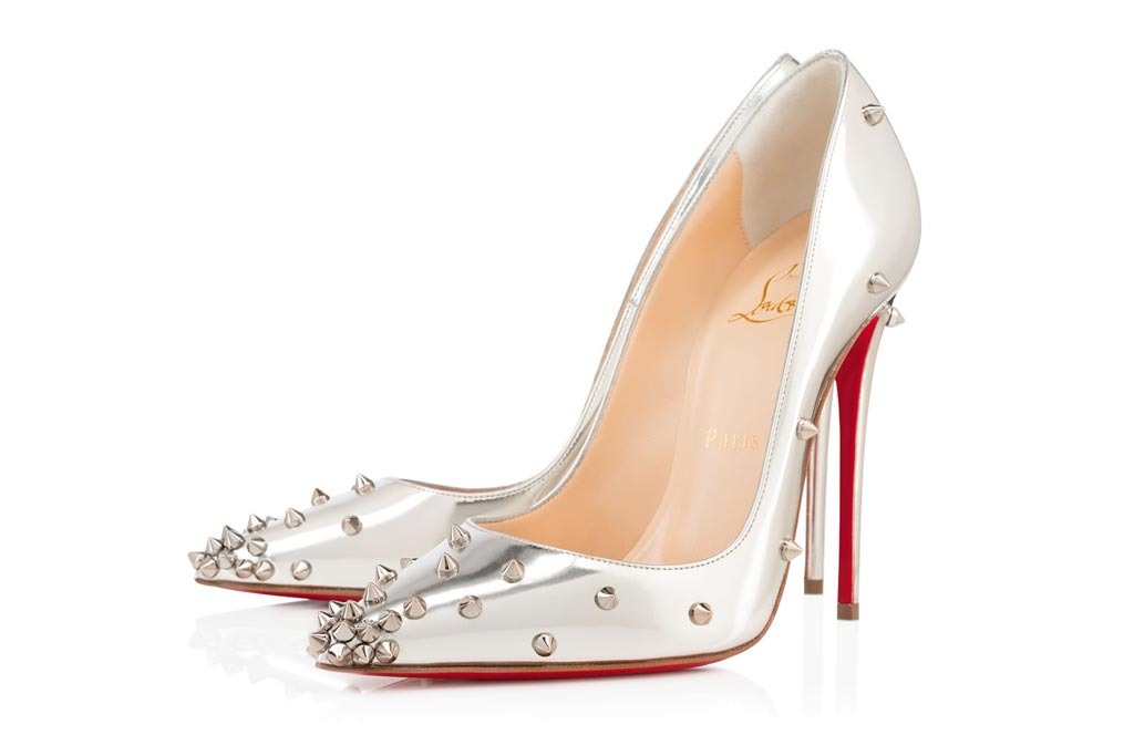 Christian Louboutin Degraspike pumps in silver.