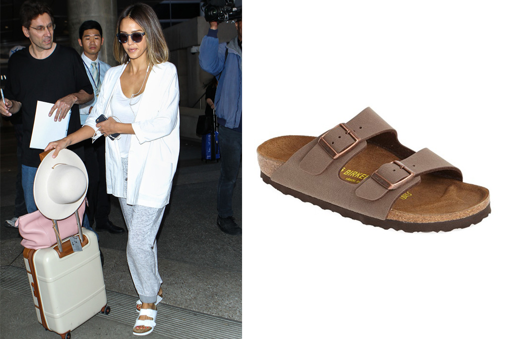 Jessica Alba often wears the Birkenstock sandal. On the right: Birkenstock's Arizona style.