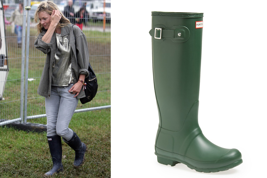 Kate Moss turned the Hunter Wellington boot into a fashion craze. On the right: Hunter's classic style.