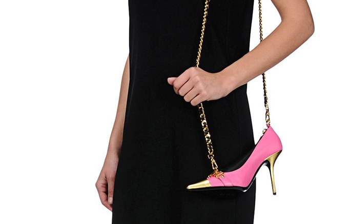 Moschino pink shoe handbag