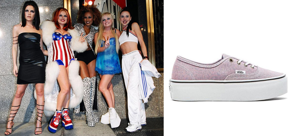 The Spice Girls brought the platform sneaker to life. On the right: a Vans style.