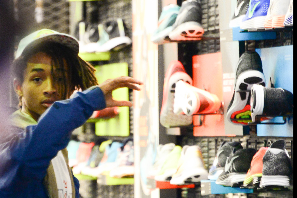 Jaden Smith shopping at the Nike store in NYC.