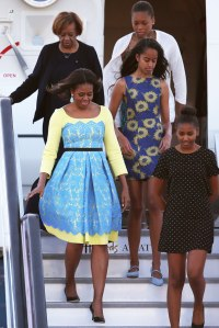 """The FLOTUS in Preen and Choo """"Match"""" pumps."""