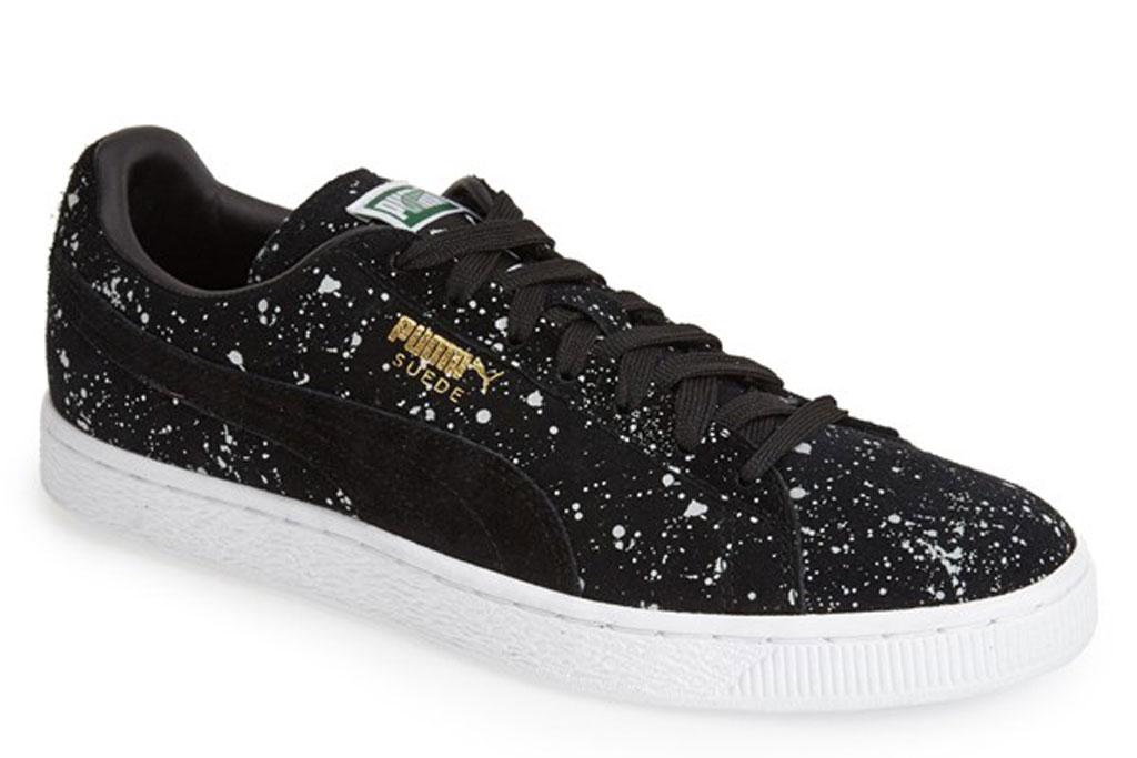 Puma paint splattered sneakers.